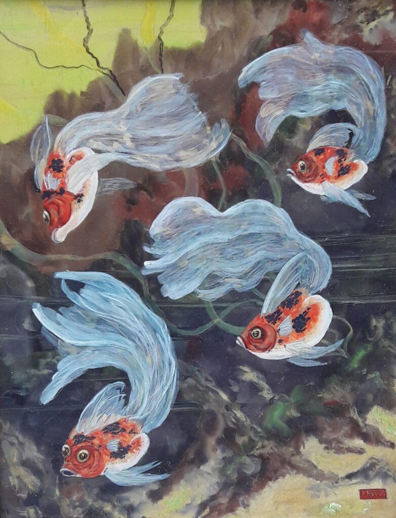 B1781 Pierre Raffy Vissen gemengde techniek, beeldmaat 39 x 30,5 cm rechtsonder gesigneerd, galerie wijdemeren breukeleveen