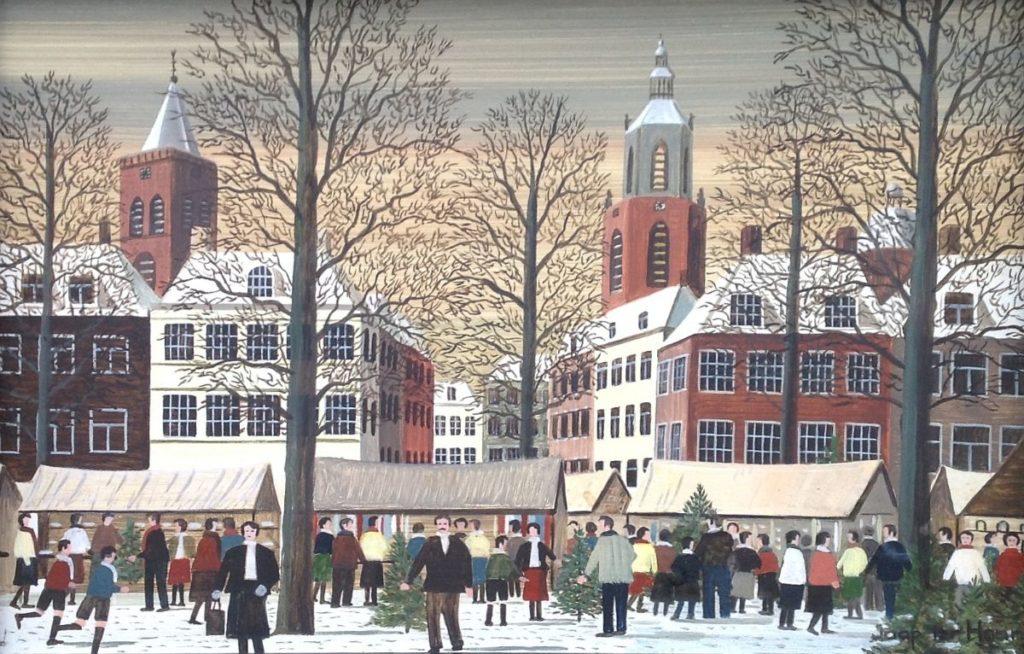 Schilderijen te koop van kunstschilder Jaap ter Haar Kerstmarkt olie op paneel, 20 x 30 cm ro gesigneerd, Expositie Galerie Wijdemeren Breukeleveen