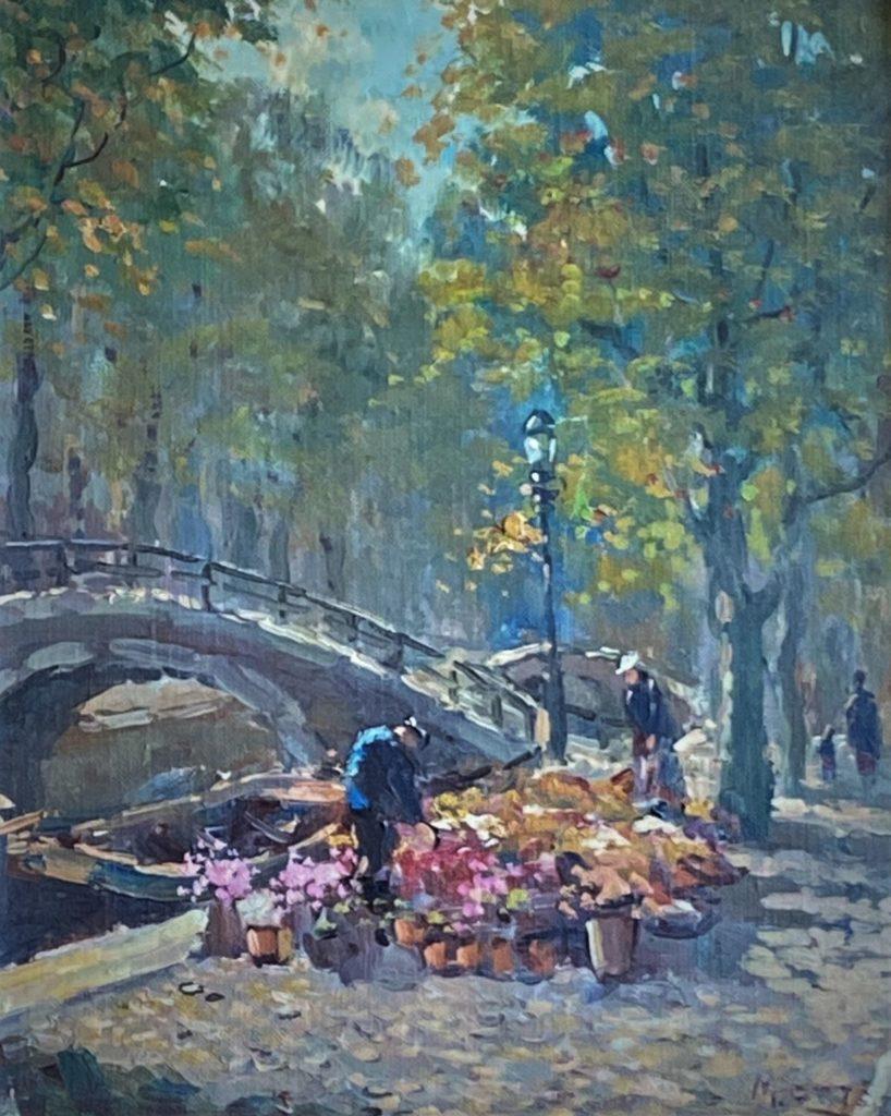 Kunstenaar Arnout van Gilst B1810 M. Ottee pseudoniem voor Arnout van Gilst bloemenstalletje aan de gracht olie op doek, 24,5 x 30,5 cm r.o. gesigneerd M. Ottee verkocht