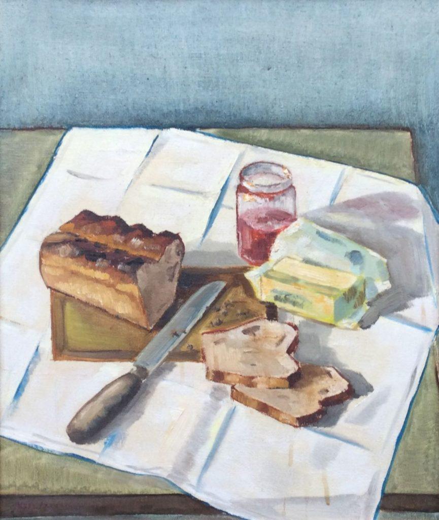 schilderijen te koop van kunstschilder, Kees Jansen Stilleven met ontbijttafel olie op doek, , doekmaat 60 x 50 cm linksonder gesigneerd, expositie, galerie wijdemeren breukeleveen