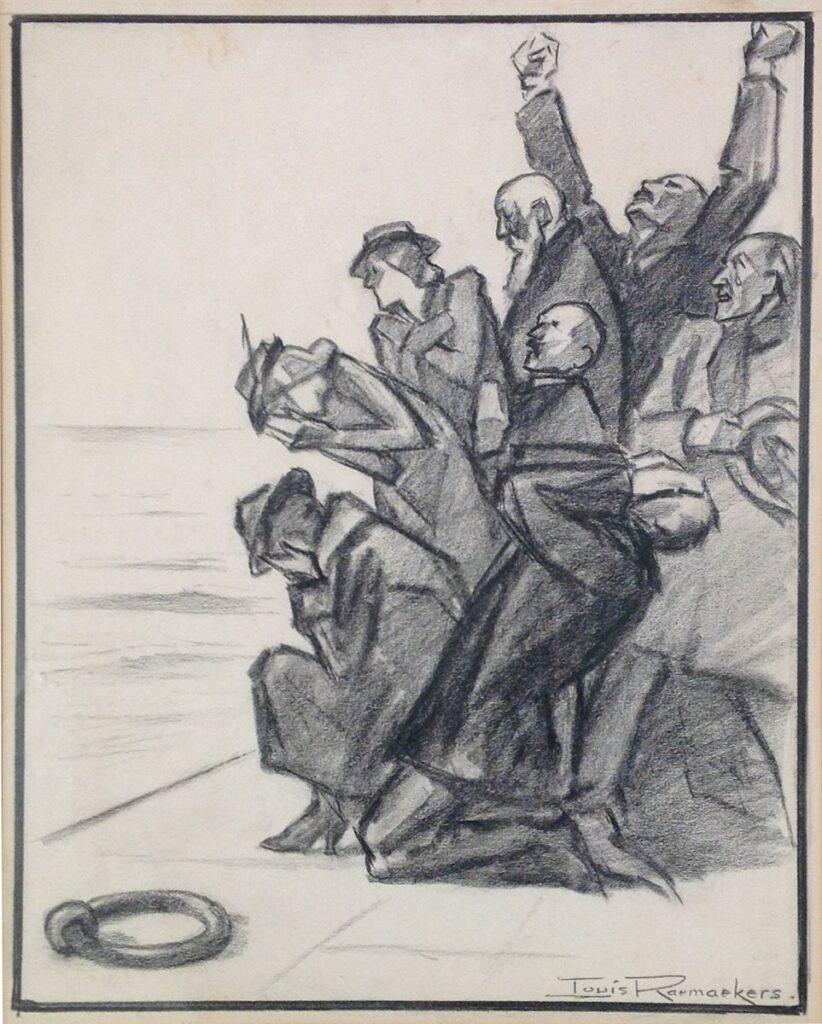 Kunstenaar Louis Raemaekers B1879-1, Louis Raemaekers krijttekening, 35 x 29 cm particuliere collectie