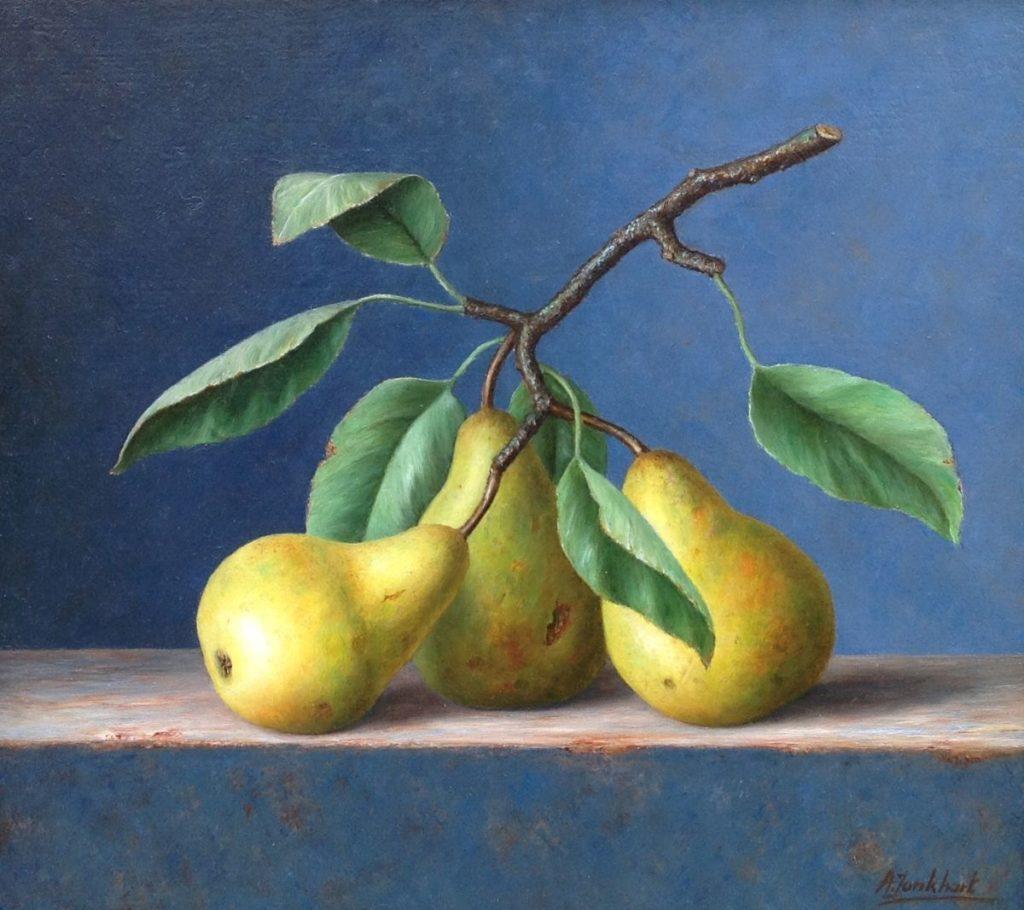 B1904 Annelies Jonkhart Takje met peren olie op paneel, 29 x 19.5 cm r.o. gesigneerd, te koop bij Galerie Wijdemeren Breukeleveen, schilderijen, expositie
