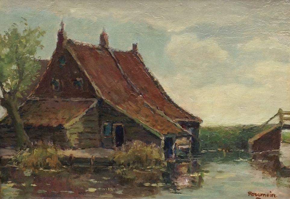 Schilderijen te koop van kunstschilder A.C. Rosemeier boerderij aan de vaart olie op paneel, 25 x 34 rechtsonder gesigneerd, Expositie Galerie Wijdemeren Breukeleveen
