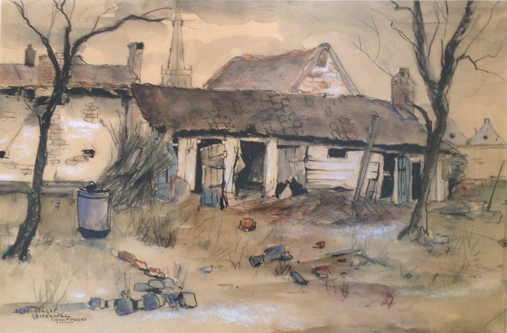 Kunst te koop bij Galerie Wijdemeren van kunstschilder Jan den Hengst Geitenstal Montfoort pastelkrijt op papier, 35.5 x 52.5 cm linksonder gesigneerd