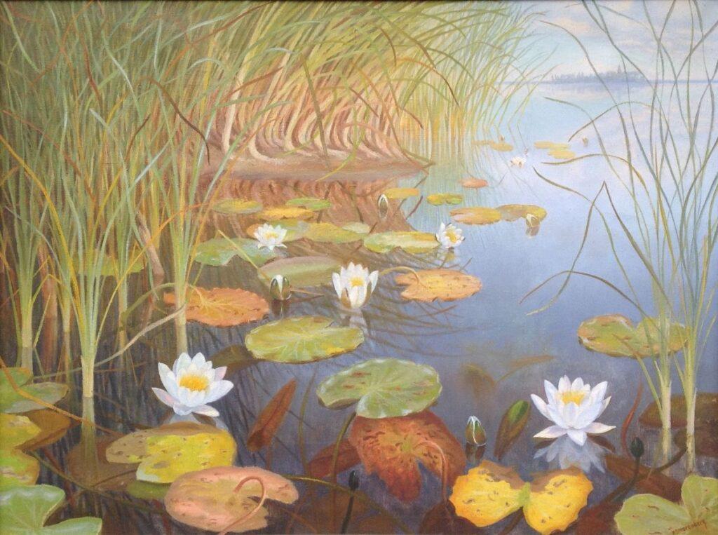 Schilderijen te koop van kunstschilder B2017A Dirk Smorenberg Waterlelies op de Loosdrechtse Plassen olie op doek, gesigneerd, Expositie Galerie Wijdemeren Breukeleveen