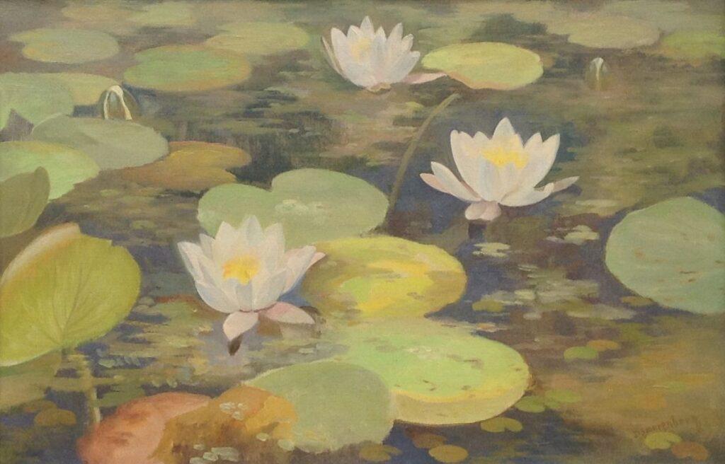Schilderijen te koop van kunstschilder Dirk Smorenberg Drie waterlelies olie op doek, 40x60 cm rechtsonder gesigneerd verkocht, Expositie Galerie Wijdemeren Breukeleveen