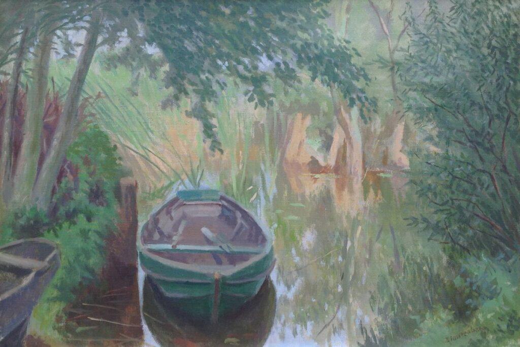 Schilderijen te koop van kunstschilder B2023A Dirk Smorenberg roeibootje in het riet op Loosdrecht Olie op doek, gesigneerd, Expositie Galerie Wijdemeren Breukeleveen