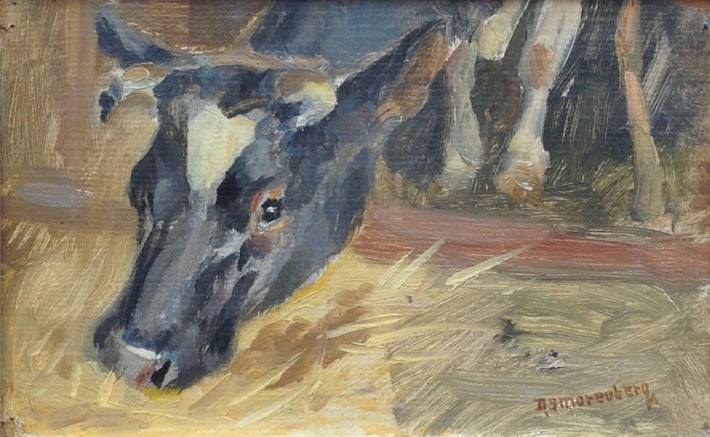 Schilderijen te koop van kunstschilder Dirk Smorenberg Koeienkop olieverf, maroufle, 15,5 x 23 cm rechtsonder gesigneerd, Expositie Galerie Wijdemeren Breukeleveen