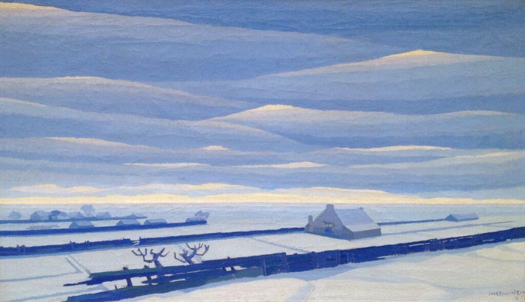 B2026 Dirk Smorenberg Winter buiten Amsterdam Olie op doek, 70 x 120 cm r.o. gesigneerd, schilderijen te koop, kunst te koop, exposities, galerie wijdemeren breukeleveen