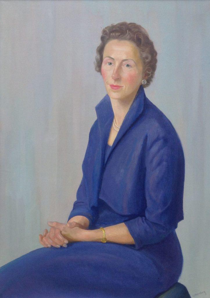 Kunt te koop bij Galerie Wijdemeren van kunstschilder Dirk Smorenberg Vrouw in blauwe jurk olie op doek, 96 x 70 cm rechtsonder gesigneerd