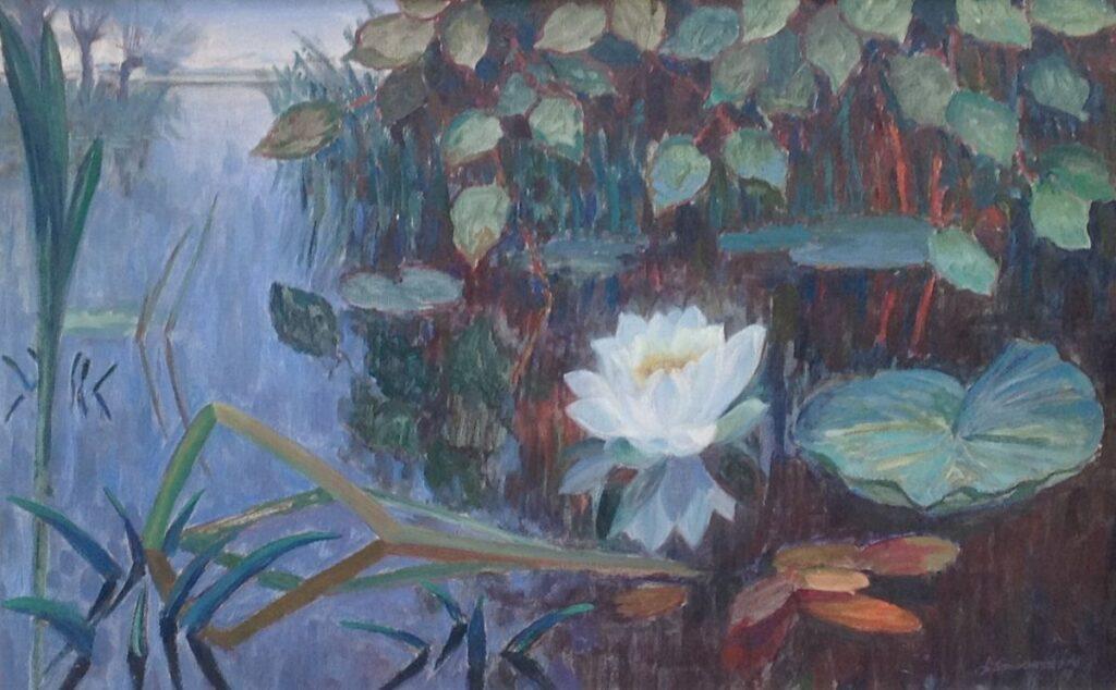 Schilderijen te koop van kunstschilderB2030A Dirk Smorenberg Lelie Impressie in blauwgroen olie op doek, doekmaat 46,5 x 73 cm l.o. gesigneerd, Expositie Galerie Wijdemeren Breukeleveen