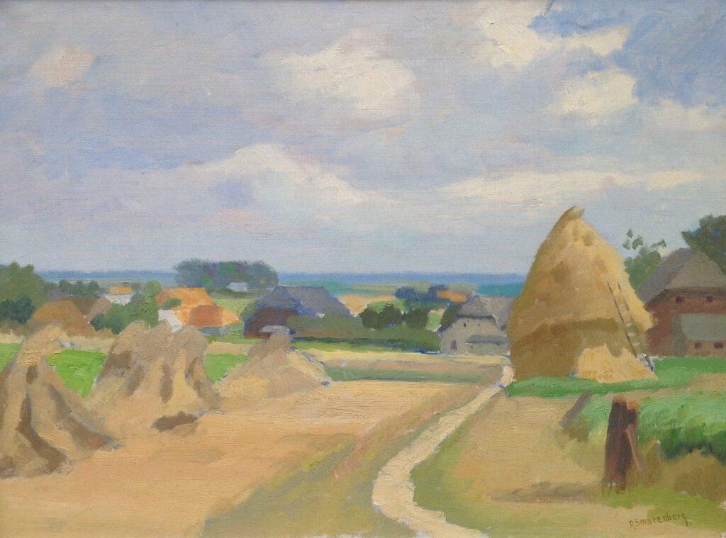 Schilderijen te koop van kunstschilder Dirk Smorenberg Landschap met hooimijt en boerderijen olie op doek, gesigneerd, Expositie Galerie Wijdemeren Breukeleveen
