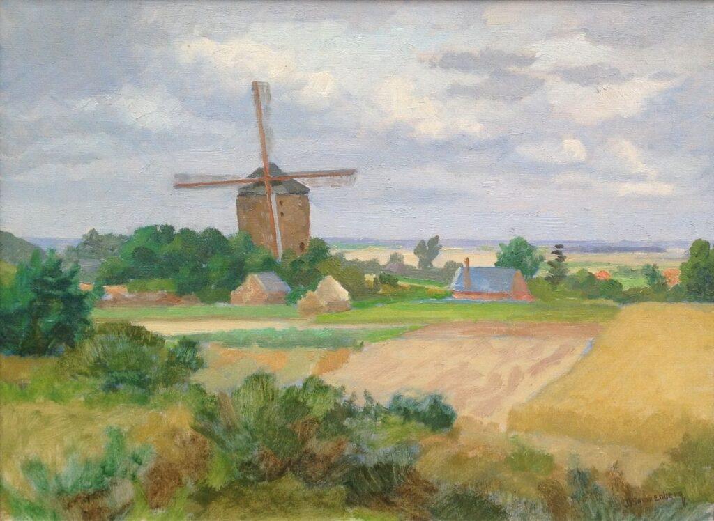 Schilderijen te koop van kunstschilderB2034A Dirk Smorenberg landschap met molen olie op doek, gesigneerd, Expositie Galerie Wijdemeren Breukeleveen