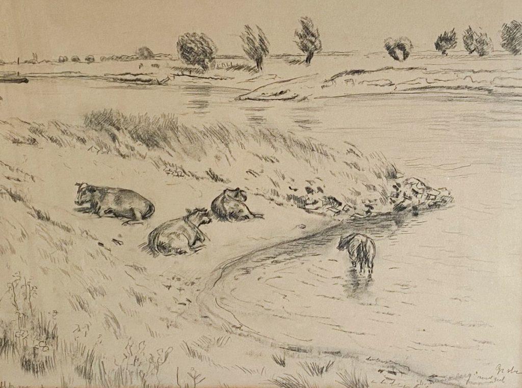 Kunst te koop bij Galerie Wijdemeren van kunstschilder Dirk Smorenberg Koeien in de IJssel krijt op papier, 40 x 53 cm
