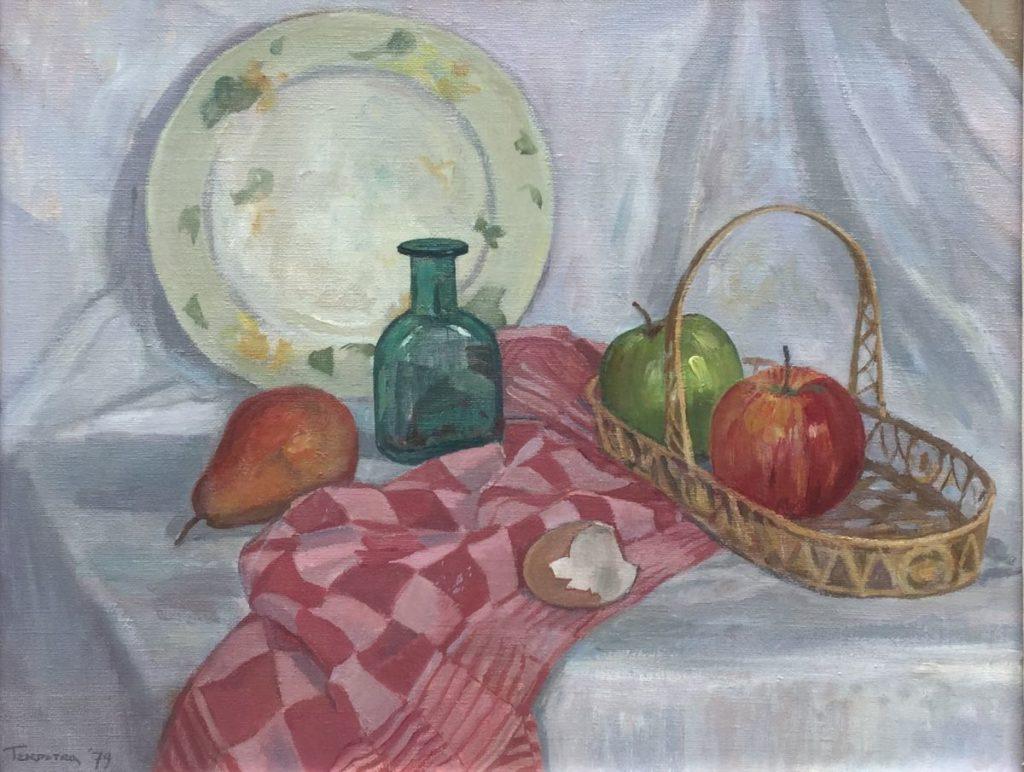 Kunst te koop bij Galerie Wijdemeren van kunstschilder Ronald Terpstra Stilleven olie op doek, 40 x 50 cm linksonder gesigneerd, gedateerd 79
