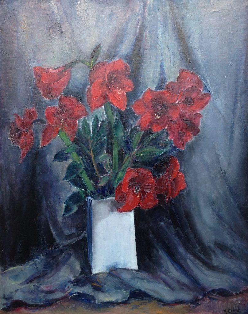Kunstenaar Arnout Colnot B2041, Arnout Colnot Stilleven met Amarylissen olie op doek 80 x 100 cm, gesigneerd verkocht