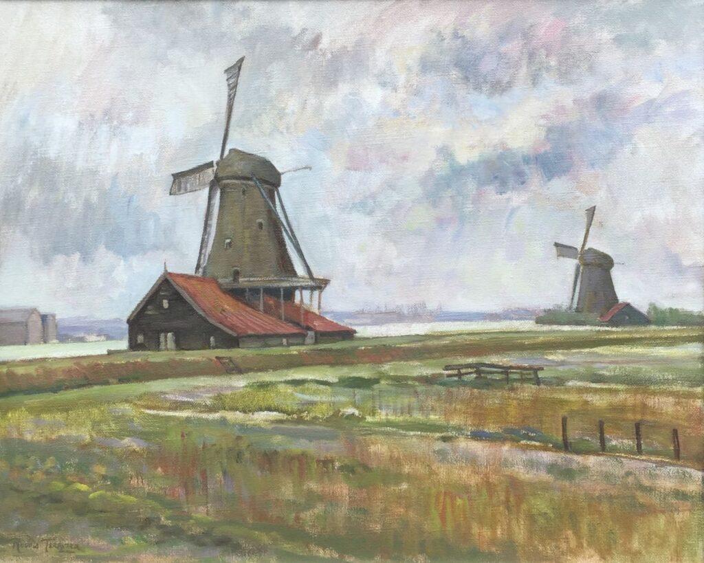 Kunstenaar Ronald Terpstra B2042, Terpstra, olie op doek landschap met molen, l.o. gesigneerd doekmaat 45 x 65 cm