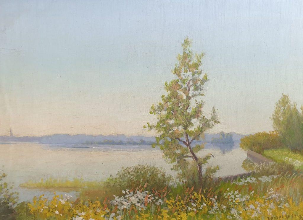 Kunt te koop bij Galerie Wijdemeren van Dirk Smorenberg Lambrechtskade olie op paneel, 28 x 39 cm r.o. gesigneerd