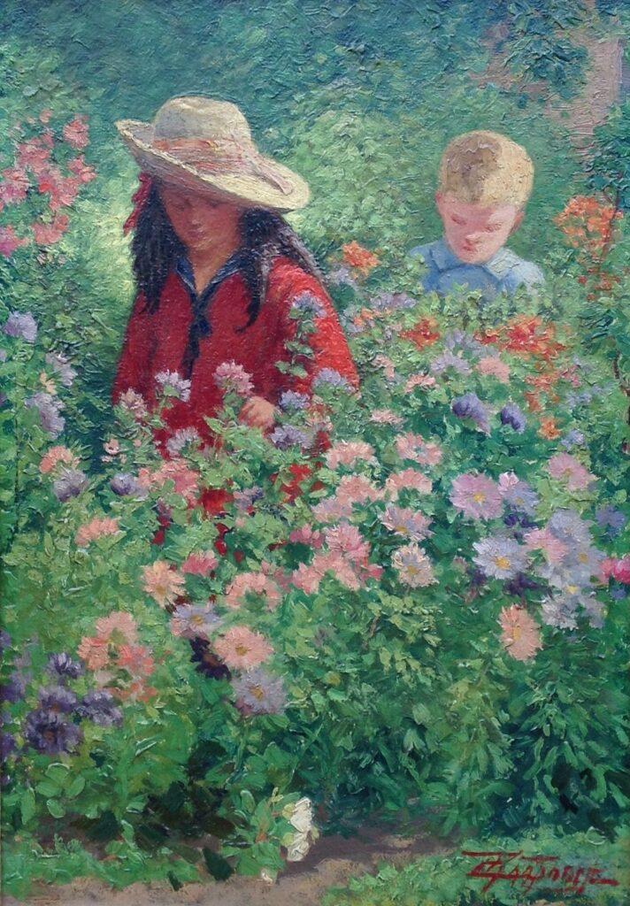 Schilderijen te koop van kunstschilder Cornelis Raaphorst Twee figuren in bossages marouflé, beeldmaat 41 x 28.5 cm rechtsonder gesigneerd, Expositie Galerie Wijdemeren Breukeleveen