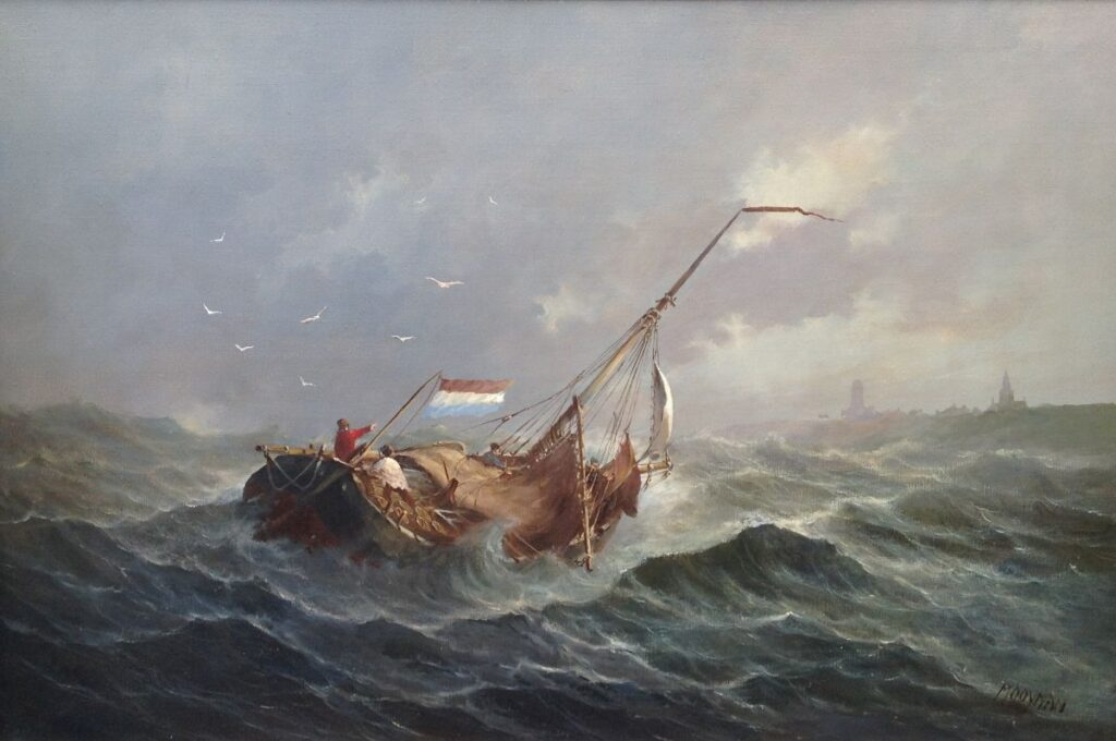 Schilderijen te koop, kunstschilder Jan Mooyman Onstuimige zee olieverf op doek, doekmaat 60 x 90 cm rechtsonder gesigneerd, expositie Galerie Wijdemeren Breukeleveen