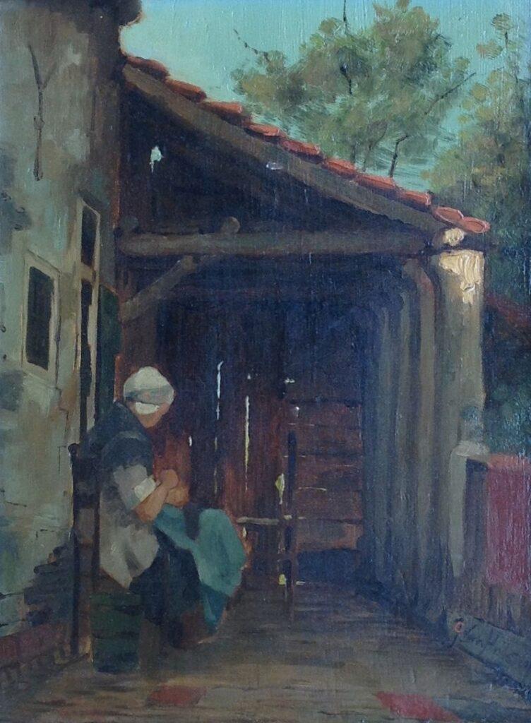 Kunstenaar Johan Cornelis van Hulsteijn B2058, J.C. Hulsteijn olie op paneel, 30 x 23 cm r.o. gesigneerd particuliere collectie