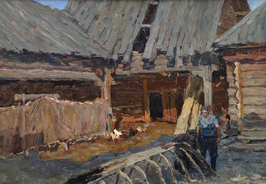Kunstenaar Igor A. Popov B2071, Igor A. Popov Op de scheepswerf olie op paneel, 35 x 49 cm