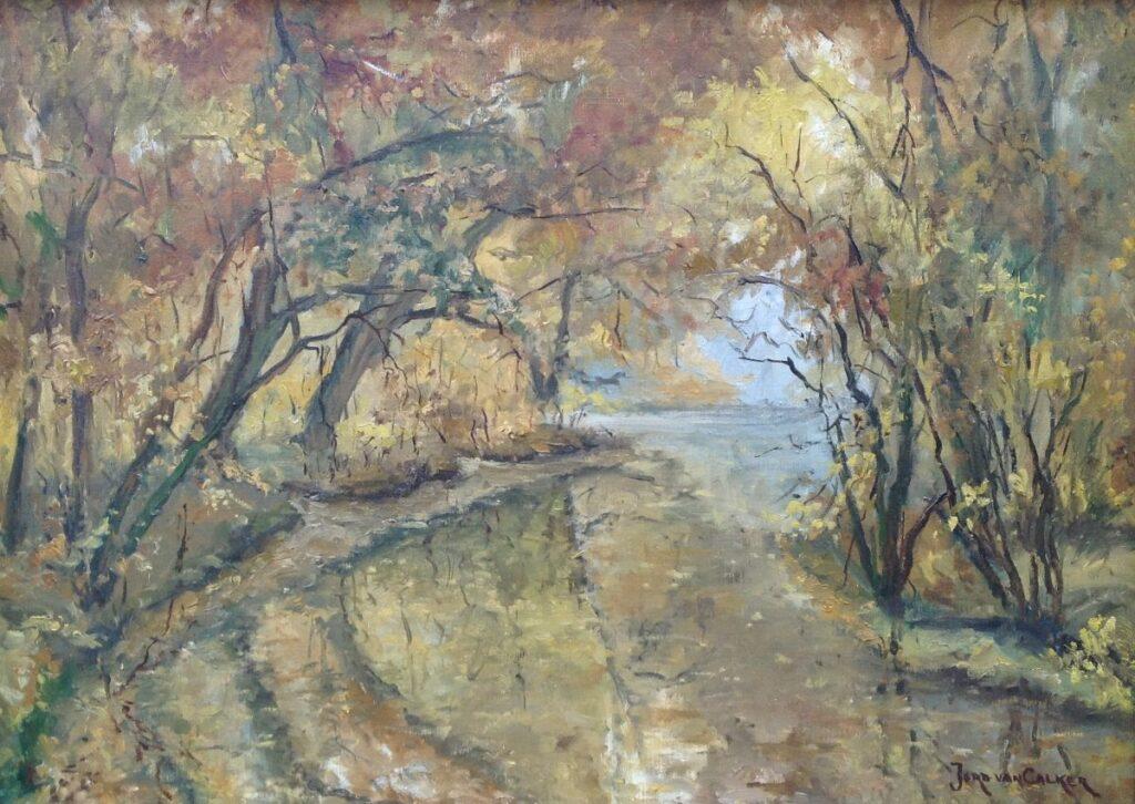 Schilderijen te koop, kunstschilder Jord van Calker 'Bos bij Groeneveld' Olieverf op doek, doekmaat 50 x 70 cm Rechtsonder gesigneerd, Expositie Galerie Wijdemeren Breukeleveen