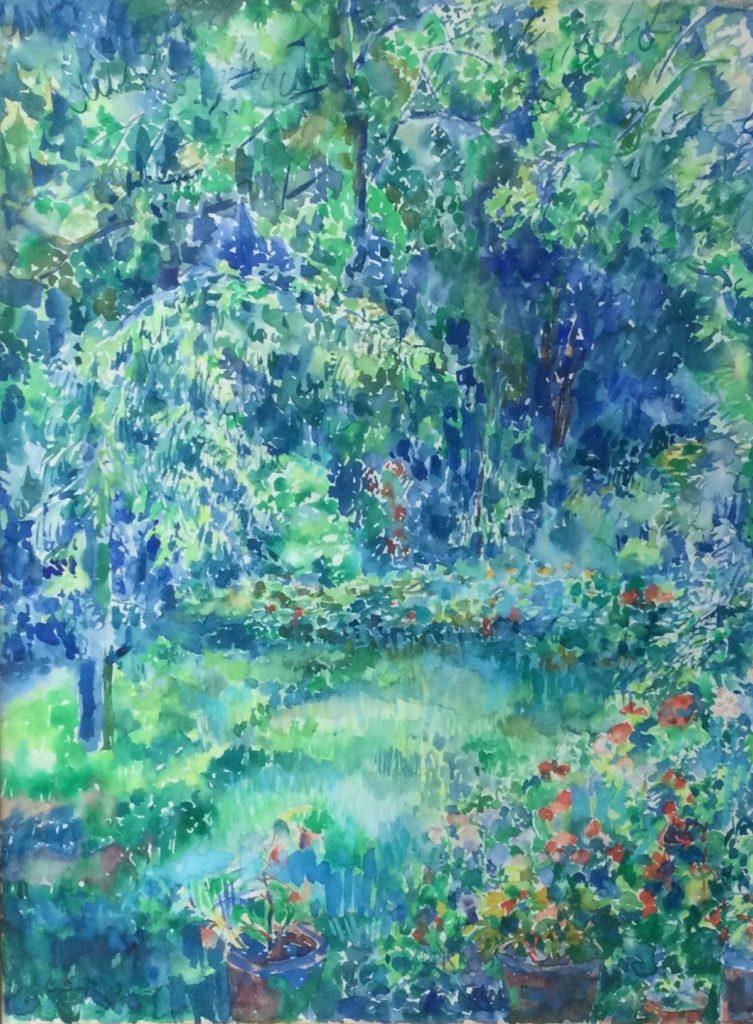 Kunst te koop bij Galerie Wijdemeren van kunstschilder Carla Sirks-Bijvanck Zomerse tuin aquarel, 48 x 36 cm linksonder gesigneerd