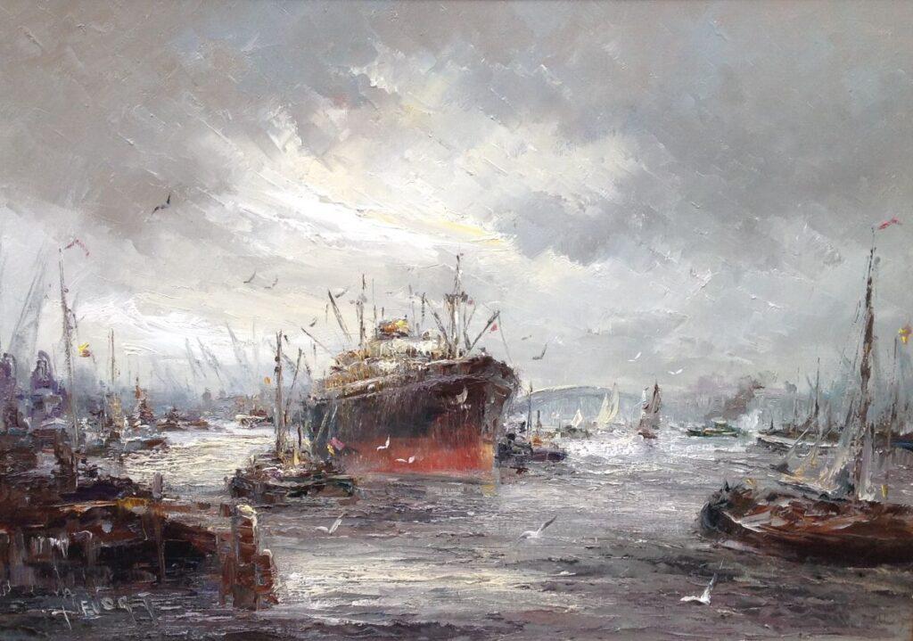 Schilderijen te koop van kunstschilder John Bevort Haven van Rotterdam olie op doek, 70 x 100 cm l.o. gesigneerd, Expositie Galerie Wijdemeren Breukeleveen