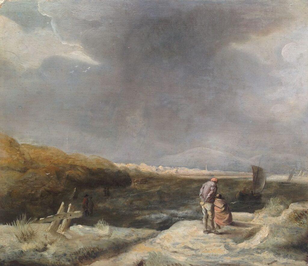 Kunstenaar unknown B218, zeegezicht, olie paneel 26 x 30,5 cm