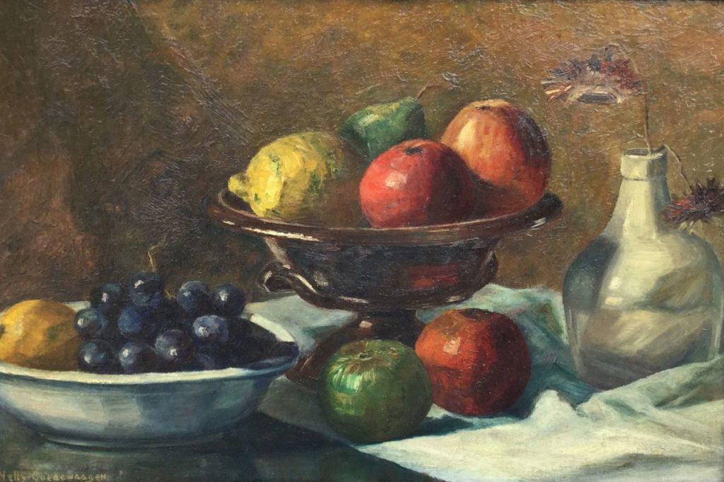 Schilderijen te koop van kunstschilder Nelly Goedewaagen Vruchtenstilleven Olie op doek op board (maroufle), beeldmaat 32 x 49 cm linksonder gesigneerd, Expositie Galerie Wijdemeren Breukeleveen