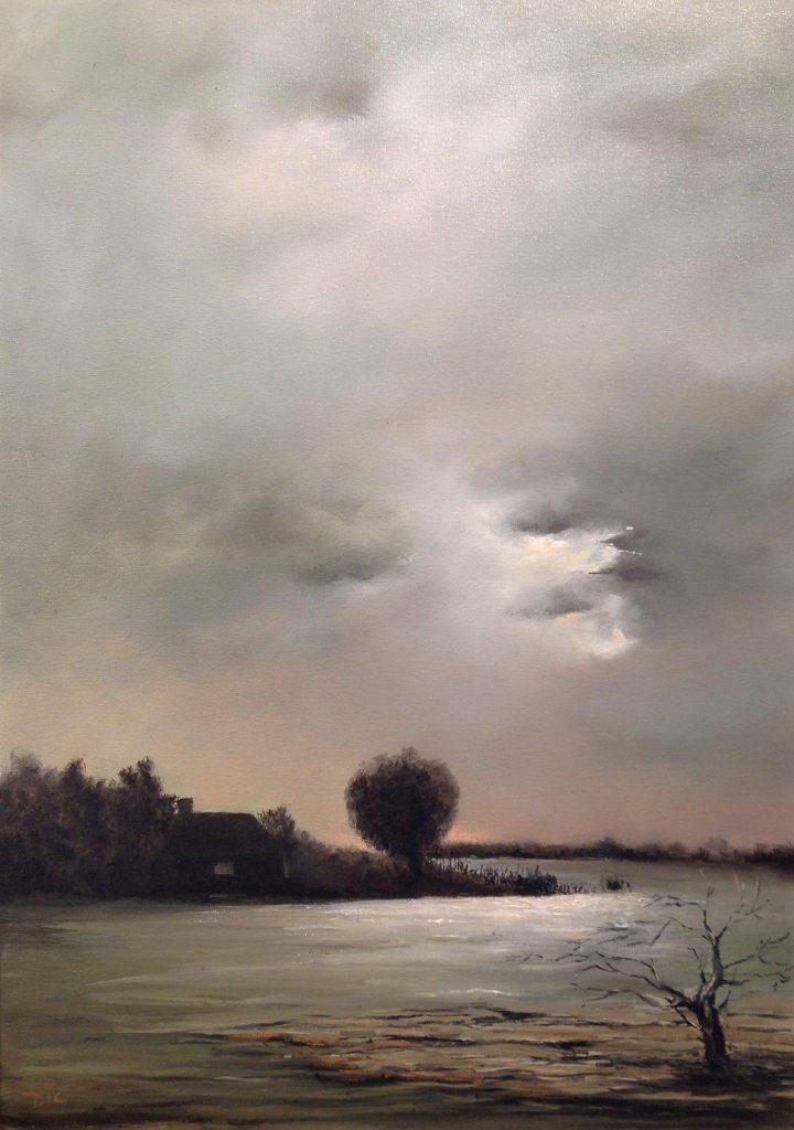 Kunstenaar Dic Zandbergen B2266, Dic Zandbergen olie op doek, 70 x 50 cm l.o. gesigneerd