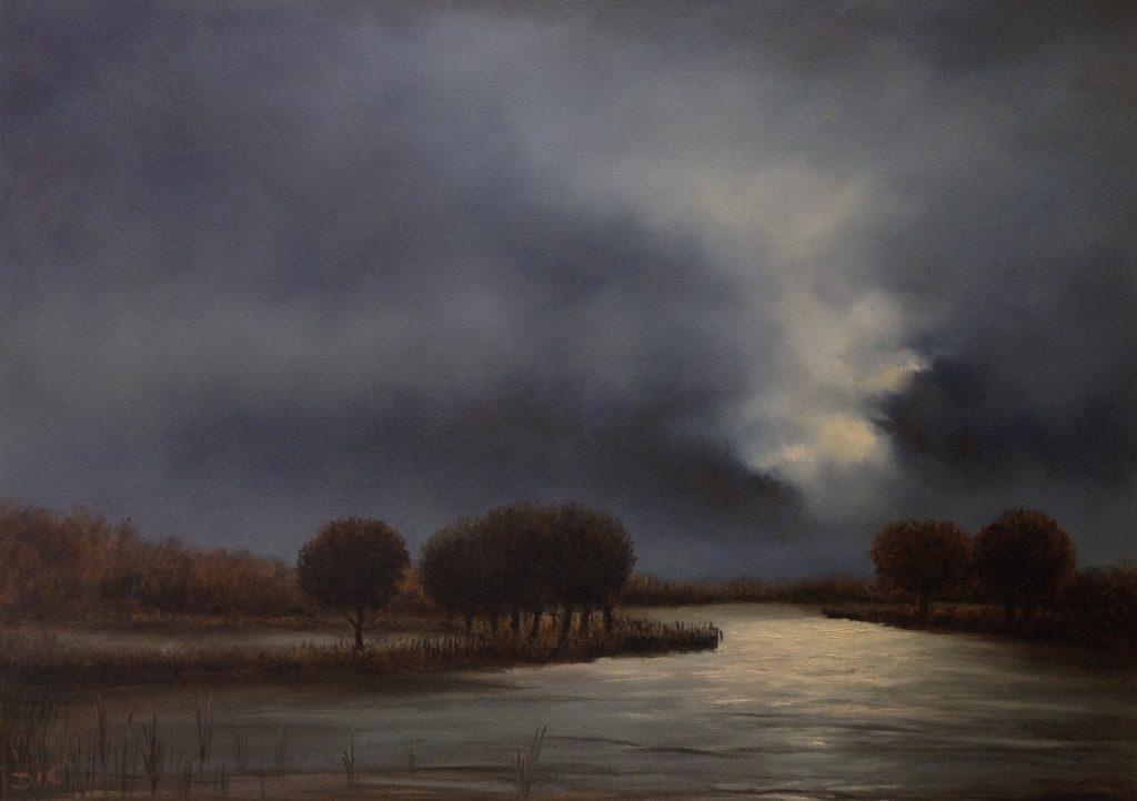 Kunst te koop bij Galerie Wijdemeren van kunstschilder Dic Zandbergen Plasgezicht olie op doek, 50 x 70 cm linksonder gesigneerd