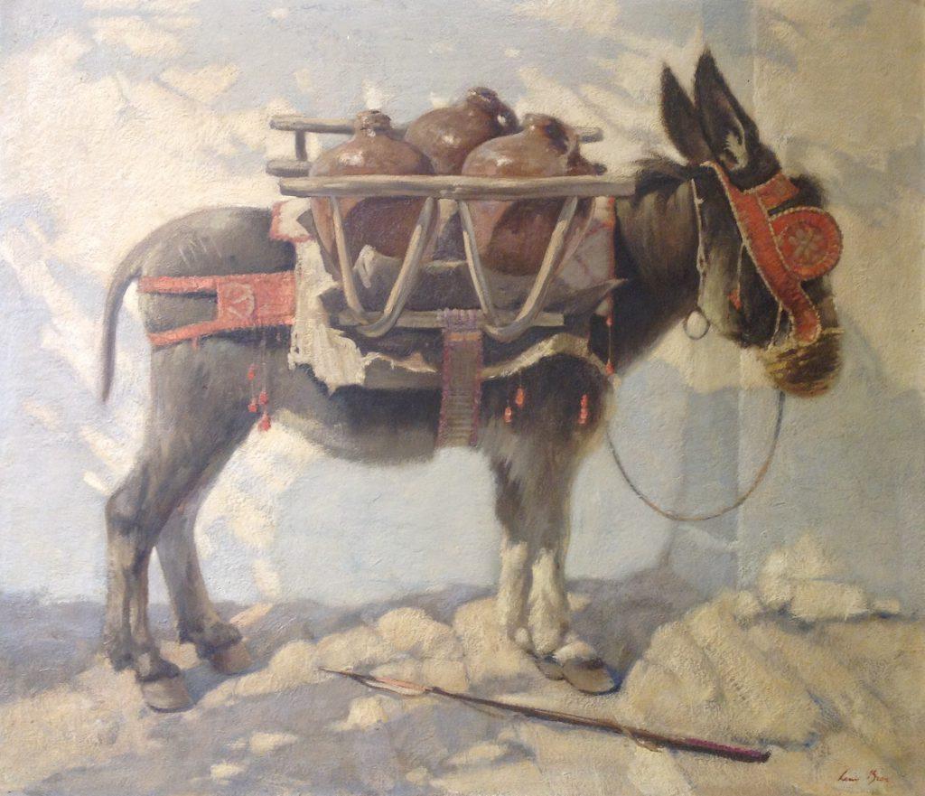 Kunstenaar Louis Bron B2270, Louis Bron 'Ezeltje', marouflé 92 x 105 cm. r.o. gesigneerd