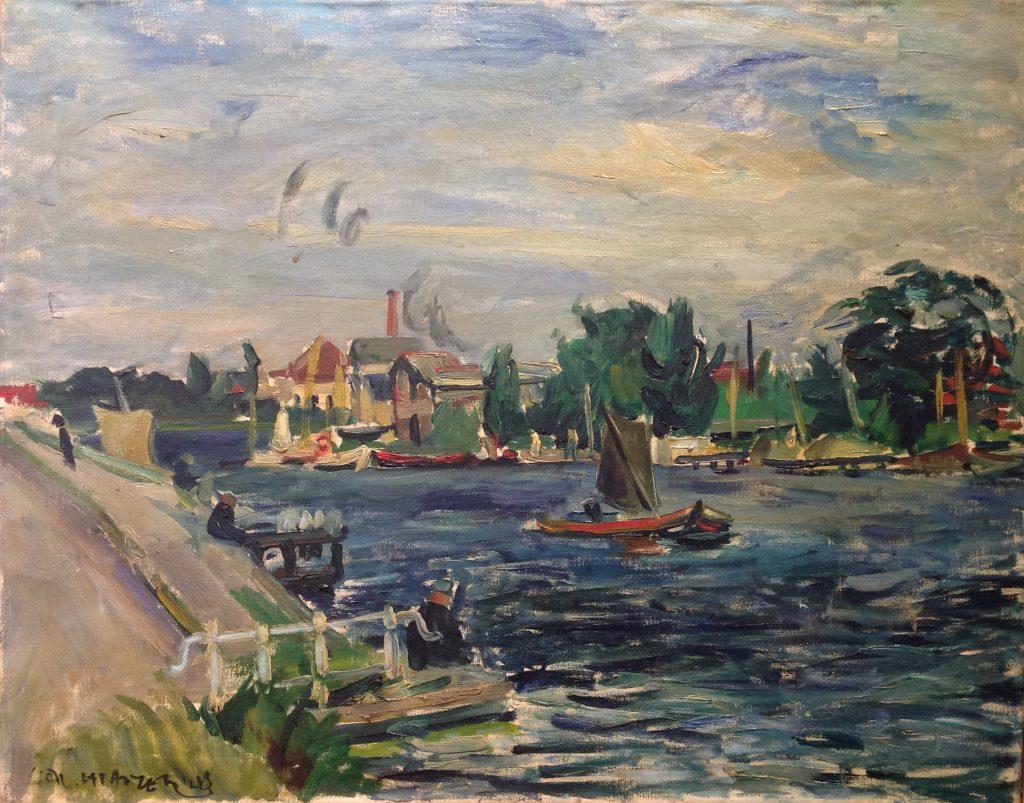 Kunstenaar Gerard Lataster B2279-24, Gerard Lataster Amstel bij Amsterdam Olie op doek, 55 x 70 cm l.o. gesigneerd en gedateerd, 1943