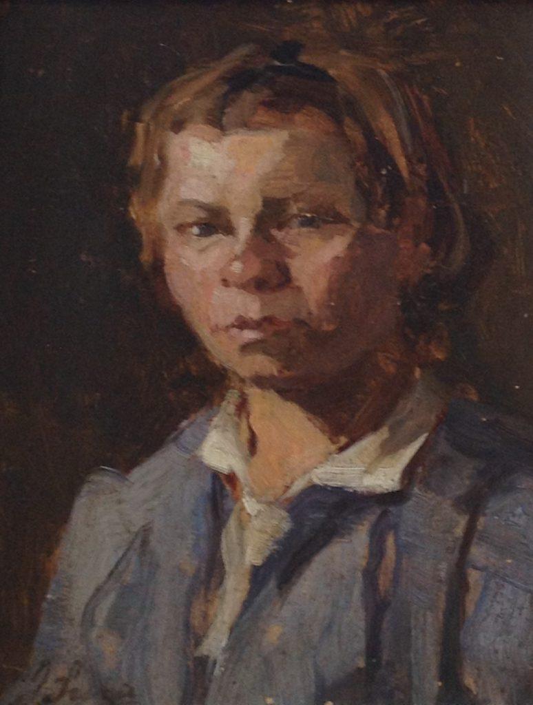 Kunstenaar Jacoba Surie B2336, Jacoba Surie, 'Portertje' l.o. gesigneerd, verkocht