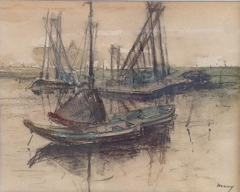 schilderijen te koop bootje langs de kade gemengde techniek (aquarel en houtskool), beeldmaat 12 x 15 cm rechtsonder gesigneerd, expositie, galerie wijdemeren breukeleveen