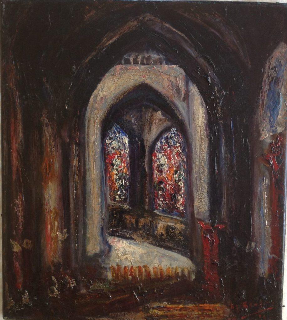 Schilderijen te koop, kunstschilder Kerkraam olie op doek, doekmaat 44 x 39 cm rechtonder gesigneerd en gedateerd, expositie Galerie Wijdemeren Breukeleveen