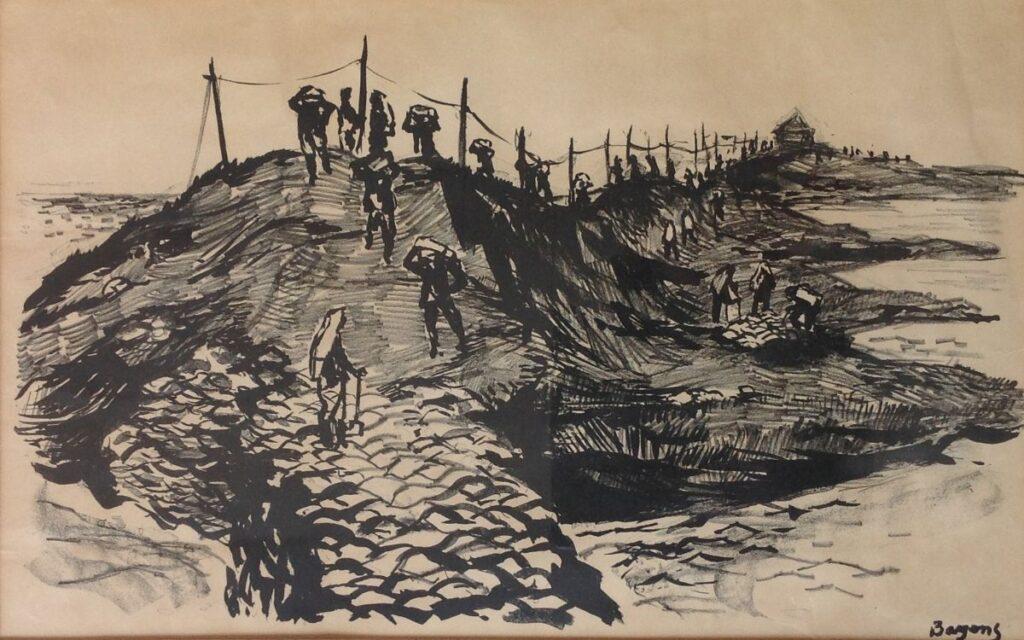 Kunstenaar Han Bayens B2357, Han Bayens 'Watersnoodramp in Zeeland' Druk 1953, r.o. hand gesigneerd