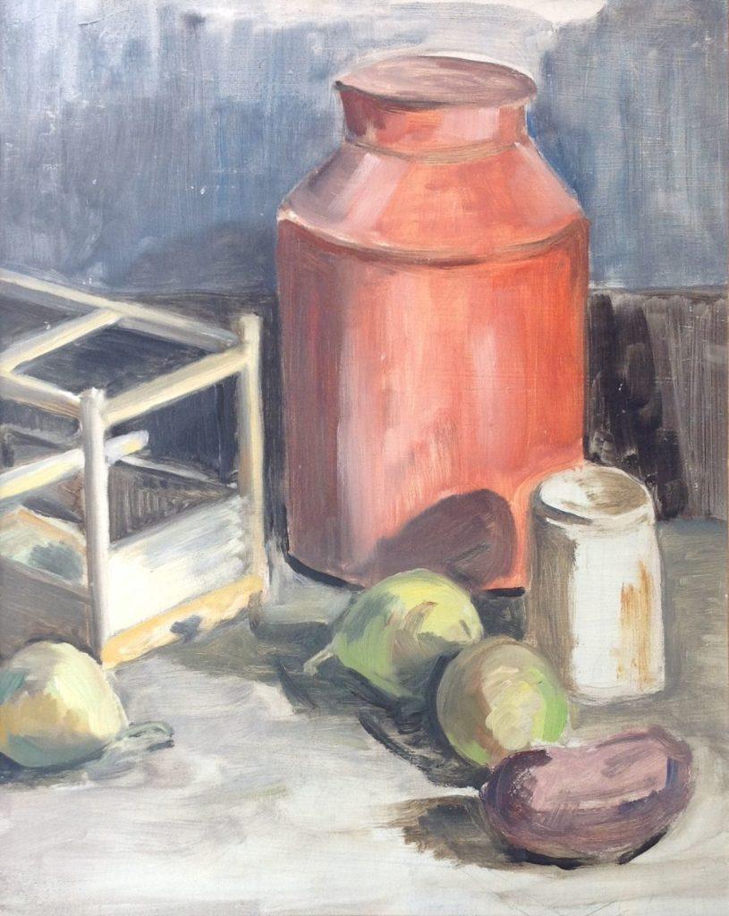 Schilderijen te koop, Keukenstilleven, Acryl op board, boardmaat 51.5 x 41 cm, expositie Galerie Wijdemeren Breukeleveen