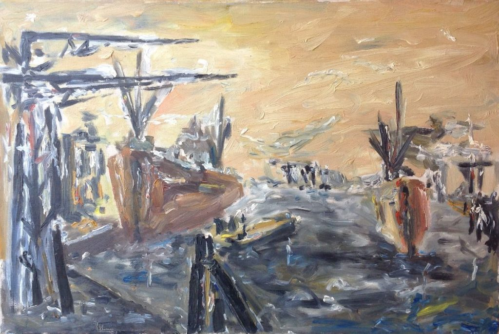 Schilderijen te koop, kunstschilder havengezicht olie op doek, doekmaat 40 x 60 cm linksonder gesigneerd met 53 in de verf, expositie Galerie Wijdemeren Breukeleveen