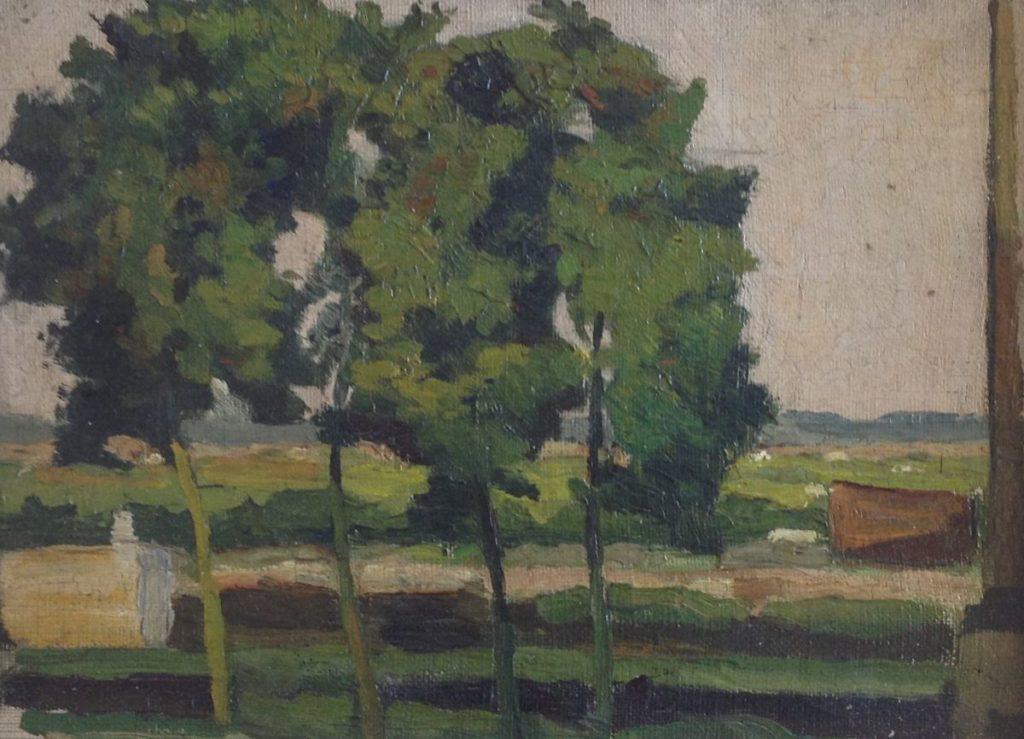Schilderijen te koop, landschap met bomen Marouflé doek op board, boardmaat 18 x 24 cm, expositie Galerie Wijdemeren Breukeleveen