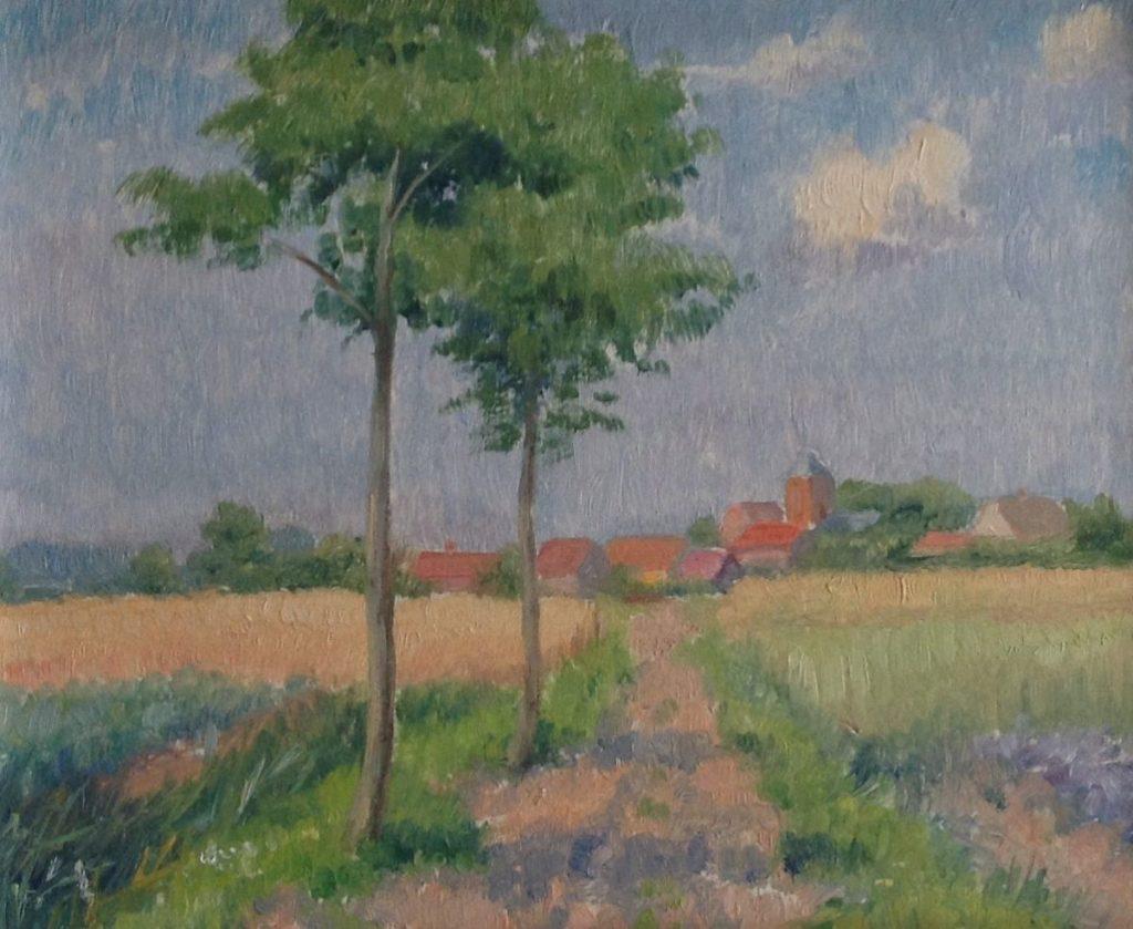 Schilderijen te koop, kunstschilder Dorpsgezicht bij korenveld olie op schilderskarton, kartonmaat 21.5 x 26 cm, expositie Galerie Wijdemeren Breukeleveen