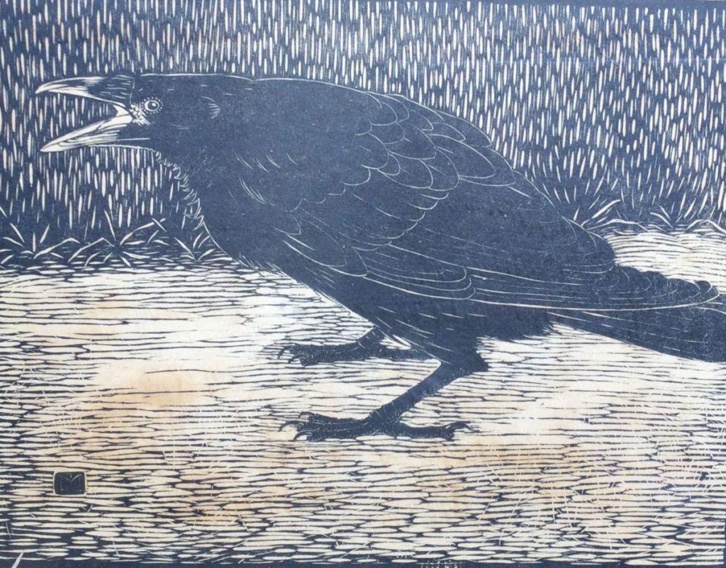 Kunst te koop bij galerie Wijdemeren van graficus Jan Mankes Schreeuwende kraai houtsnede, 19 x 24 cm in druk gesigneerd linksonder
