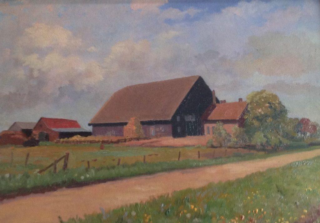 Schilderijen te koop, kunstschilderA Kristians landweg met boerderijen marouflé, doek op board, boardmaat 38 x 54 cm, expositie Galerie Wijdemeren Breukeleveen