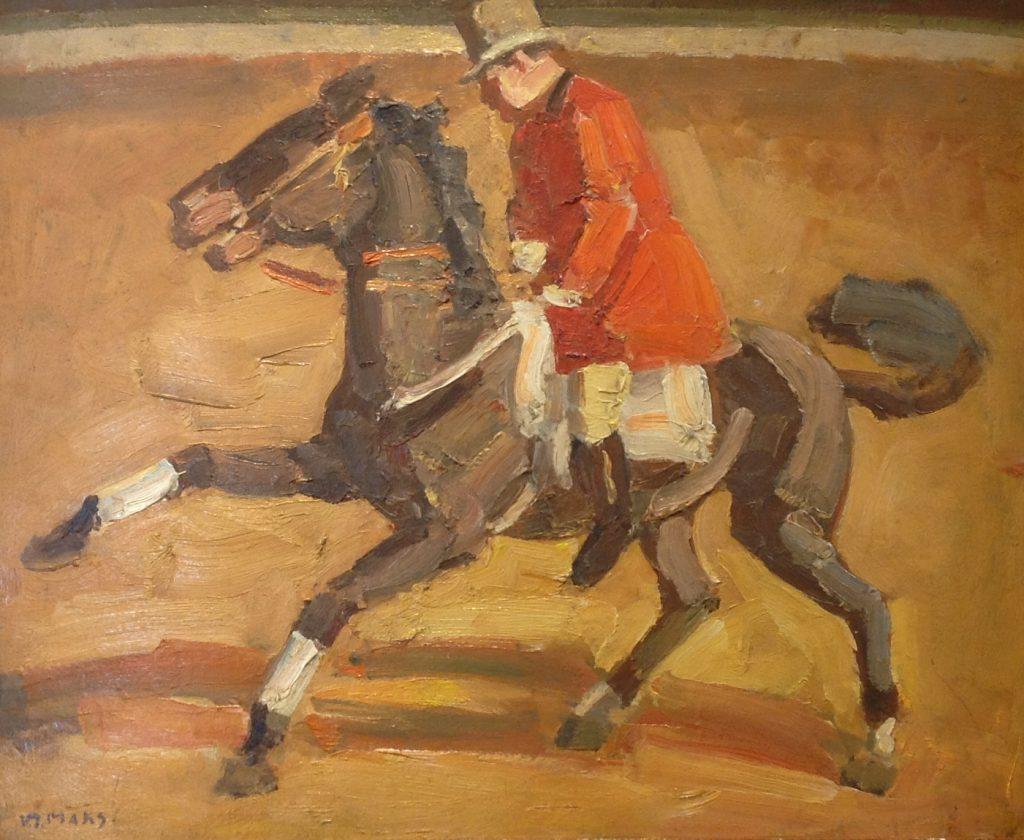 Schilderijen te koop van kunstschilder Kees Maks Circuspiste olie op doek, doekmaat 40 ⨯ 50 cm linksonder gesigneerd, Expositie Galerie Wijdemeren Breukeleveen