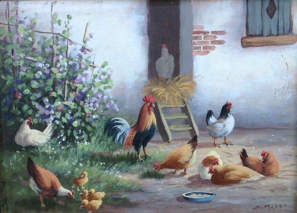 Kunstenaar Meijer Janny B2553-2, Janny Meyer Kipjes op boerenerf olie op paneel particuliere collectie