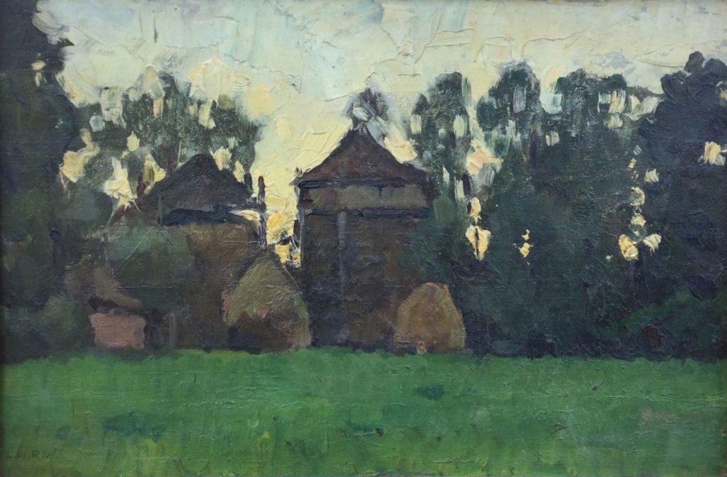 B2629 Ludwig Willem Reijmert Wenckebach hooibergen in boerenlandschap marouflé, doek op paneel, 24,5 x 34,5 cm rechtsonder gemonogrammeerd, schilderijen te koop, kunst te koop, exposities, galerie wijdemeren breukeleveen