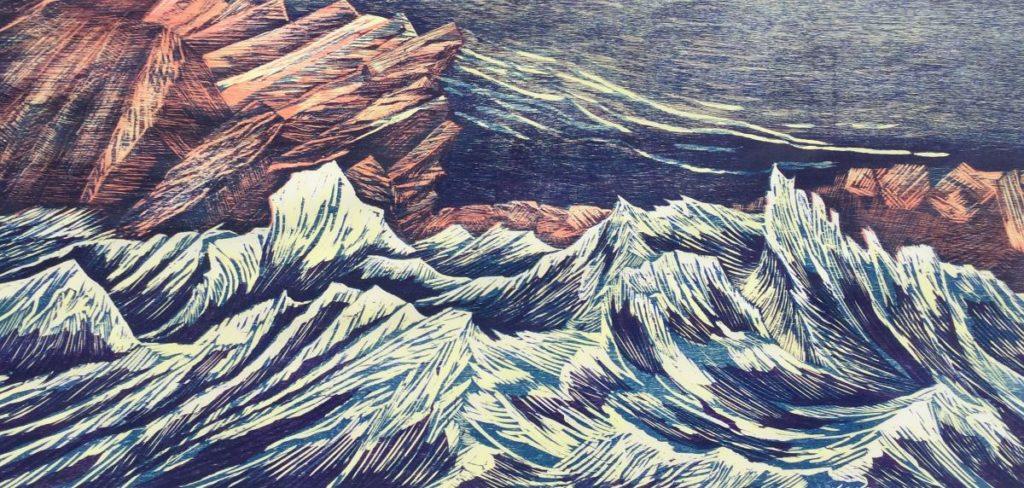 schilderijen te koop van kunstschilder, M. Werkhoven kustlijn X houtsnede, oplage 3/50 rechtsonder gesigneerd en gedateerd '86, expositie, galerie wijdemeren breukeleveen
