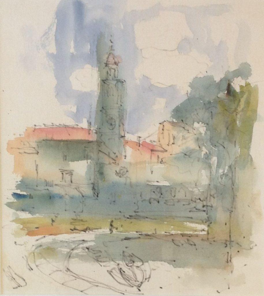 Schilderijen te koop van kunstschilder Theo Swagemakers Landschap met toren aquarel, 29,5 x 26,5 cm ongesigneerd, Expositie Galerie Wijdemeren Breukeleveen